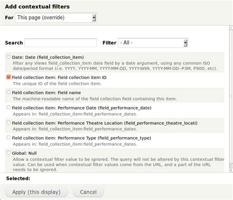 Calendar View of a Field Collections and Contextual