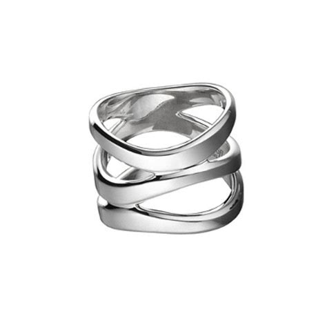 Christofle Rivage Ring breit, 925 Silber, B: 15 mm