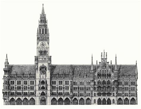 Drawing the Neues Rathaus (New Town Hall) in Munich