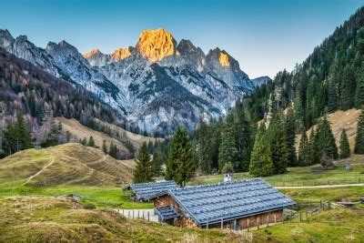 Beautiful landscape in the alps with traditional mountain