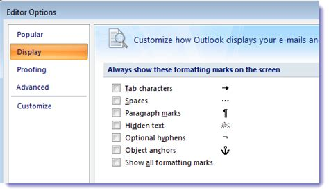 How to Hide Paragraph Formatting Marks - Outlook Tips