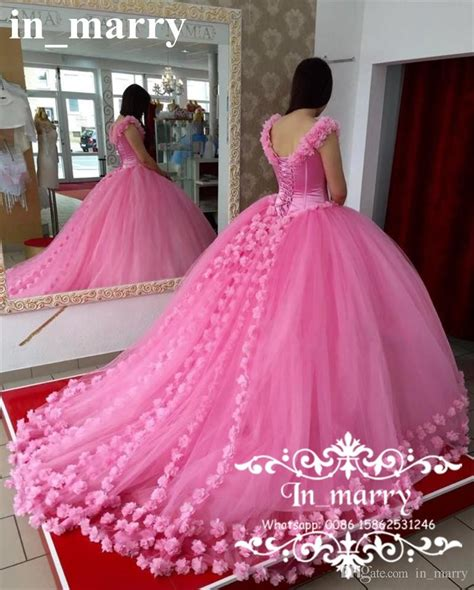 Pink 3d Floral Ball Gown Quinceanera Prom Dresses 2017 Off