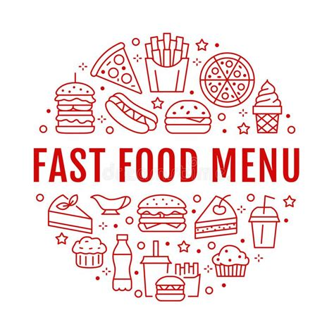 Fast Food Circle Illustration With Flat Line Icons