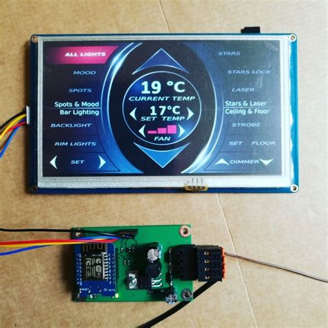 ESP8266 & Nextion based Touch panel for car interior