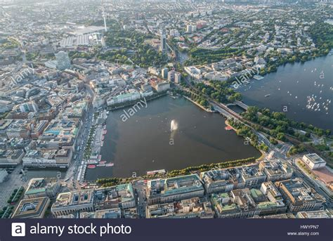 Germany, Hamburg, aerial view of Inner Alster Lake in the