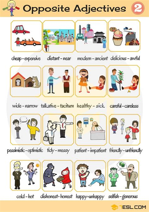 Opposite Adjectives: List of Opposites of Adjectives with