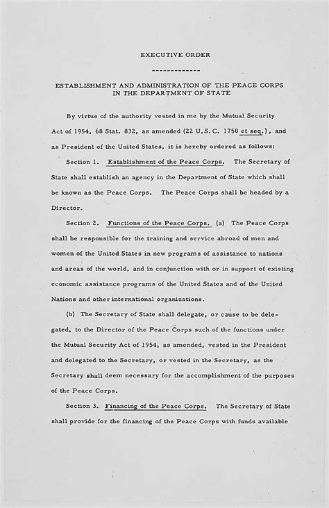 Founding Documents of the Peace Corps