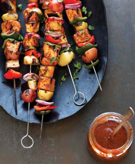 Summer Vegetable and Tofu Kebabs with Pomegranate-Peach